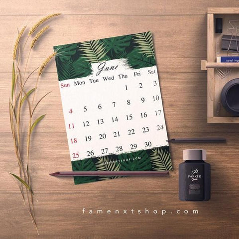 Monthly Calendar Printable, instant download, June Tropical theme-Calendar Digital Download-famenxt
