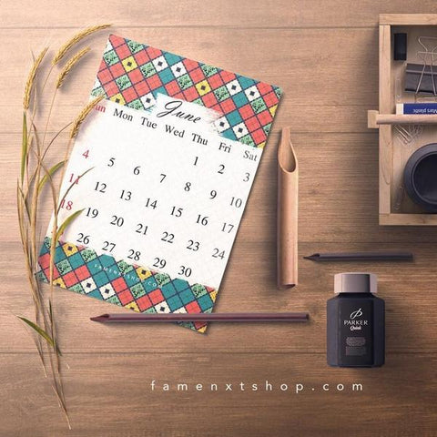 Monthly Calendar Printable, instant download, June Nautical theme-Calendar Digital Download-famenxt