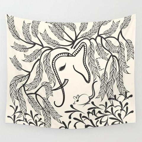 Elephant in Jungle Wall Tapestry-Wall Tapestry-famenxt