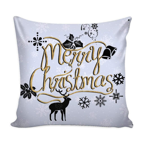 Merry Christmas Gold Text Throw Pillow Case with White Back-Pillows-famenxt