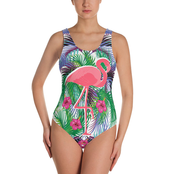 Tropical Flamingo One-Piece Swimsuit-famenxt