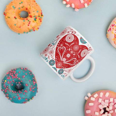 Flowers and Heart Love Mug-famenxt