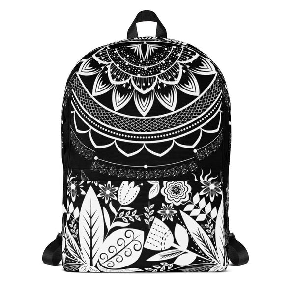 Half Mandala and Secret Garden from my15bohemianart Collection Black Backpack-famenxt