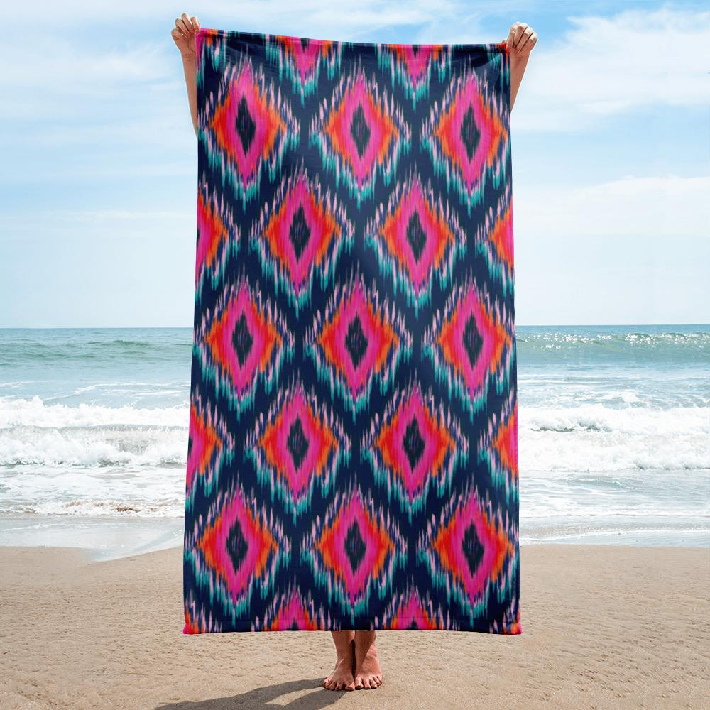 Ikat Blue Beach Towel-famenxt