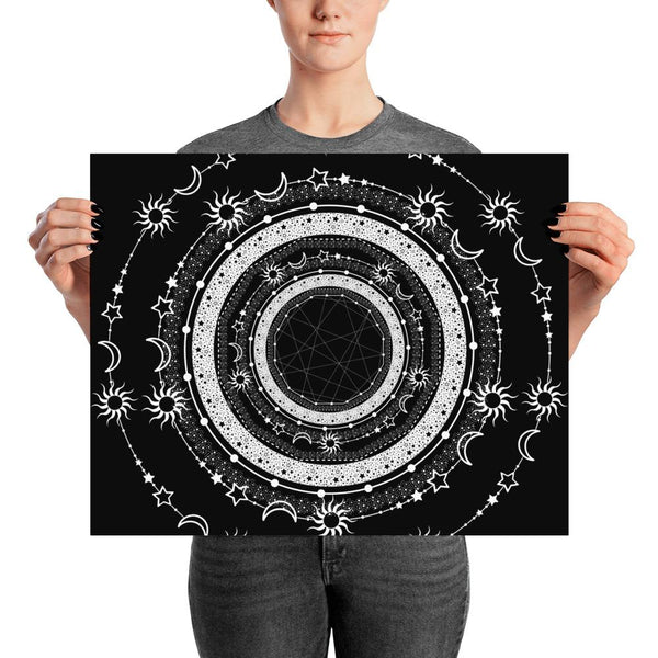 Bohemian Sun Moon Stars from my15bohemianart Collection Black Poster-famenxt