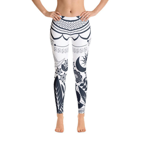 Half Mandala and Secret Garden from my15bohemianart Collection Leggings-Leggings-famenxt