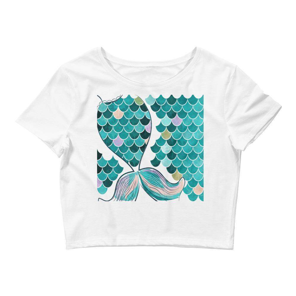 Mermaid Tail Teal Women's Crop Tee-famenxt