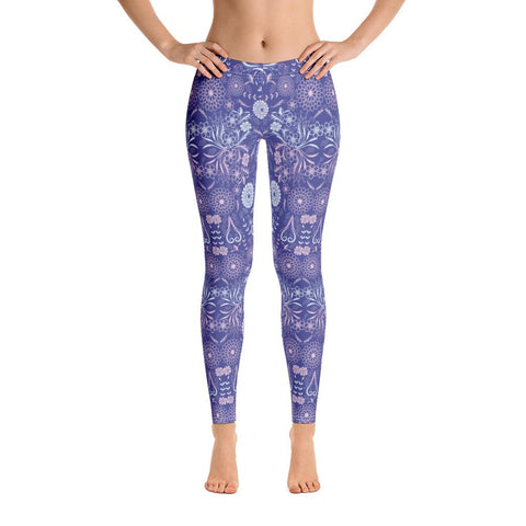 Blueberry Charm Pink Quietude Floral Leggings-famenxt