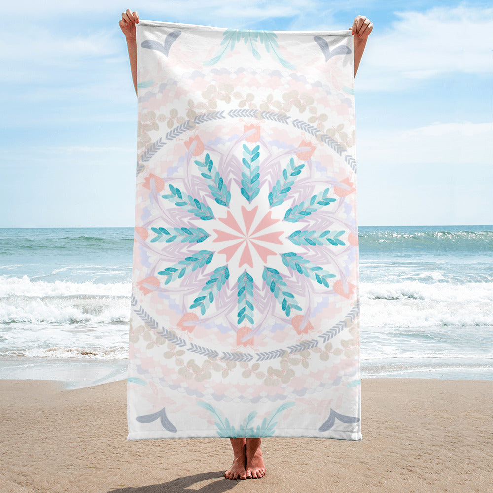 Pastel Goodness Soft Mandala Beach Towel-famenxt