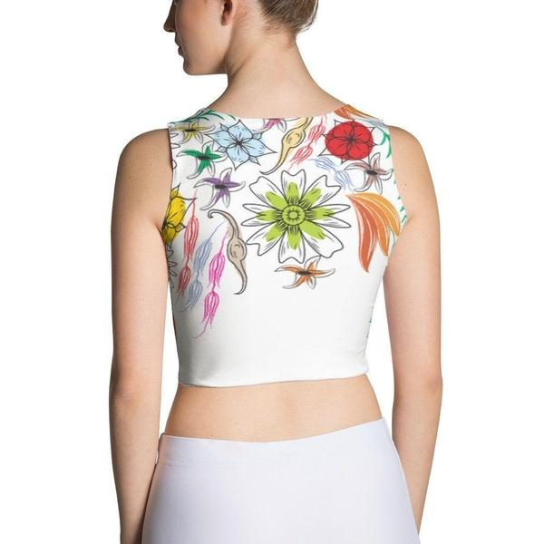 Falling flowers Sublimation Cut & Sew Crop Top-famenxt