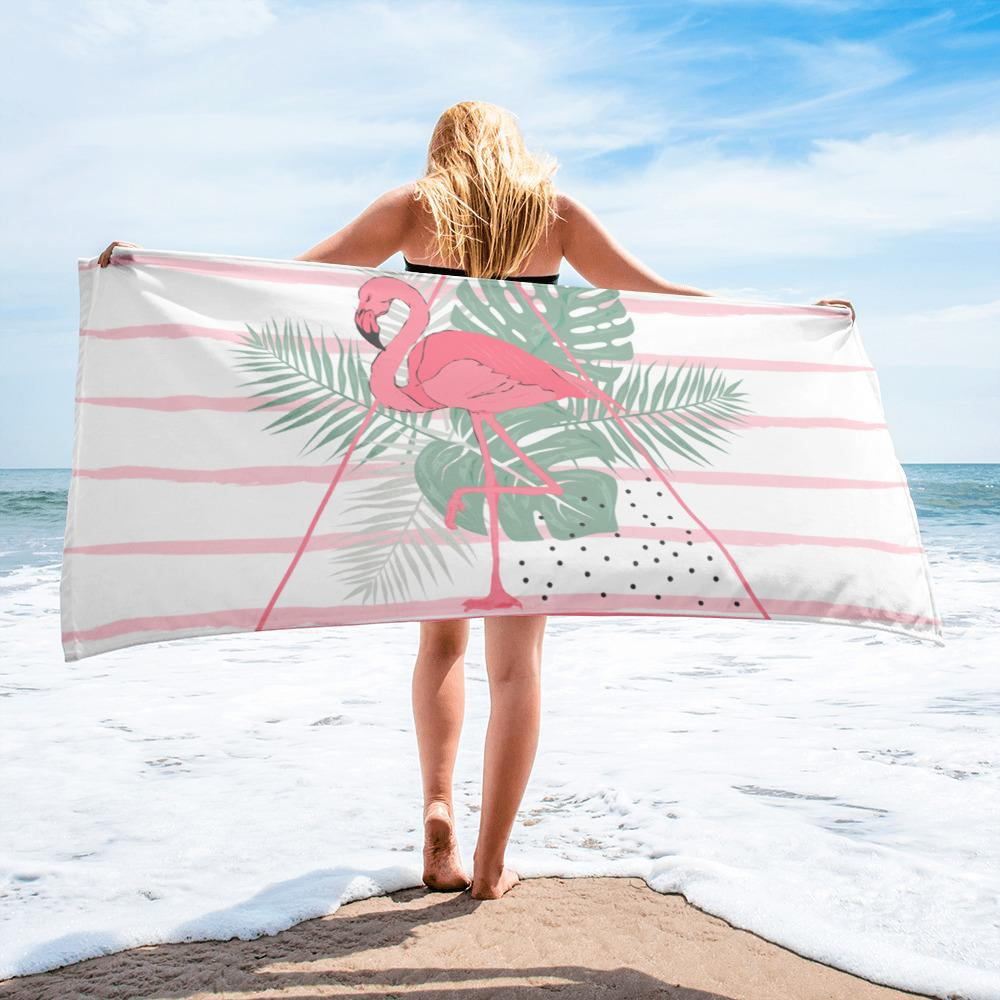 Tropical Flamingo Beach Towel-famenxt