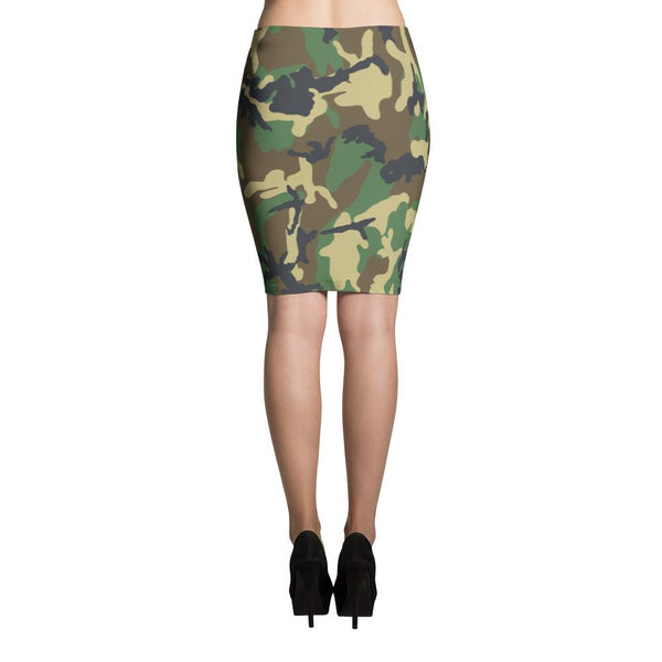 Green Military Camouflage Pencil Skirt-famenxt