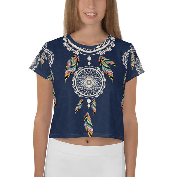 Bohemian Hanging Blue Dreamcatcher from my15bohemianart Collection Premium All-Over Print Crop Tee-famenxt