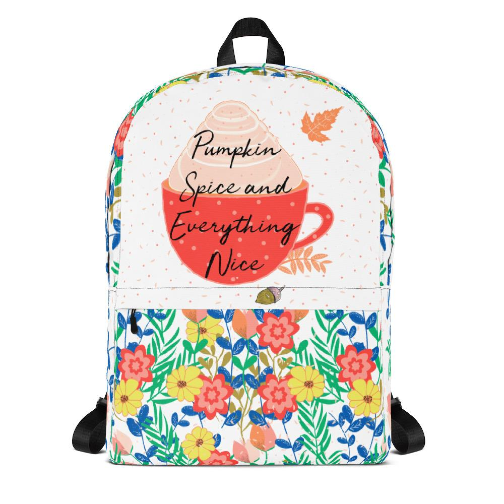 Pumpkin Spice Everything Nice Floral Backpack-famenxt