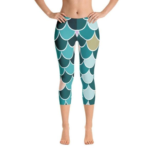 Mermaid teal Capri Leggings-famenxt