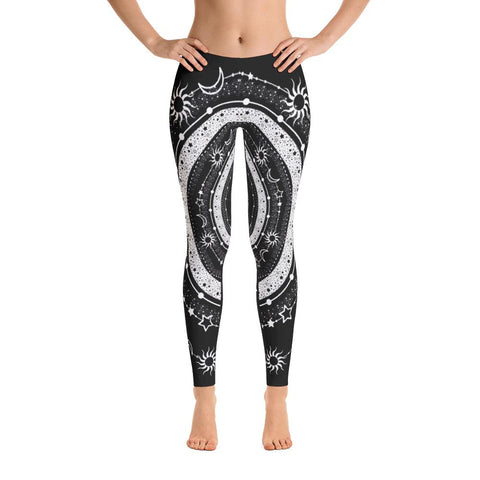 Bohemian Sun Moon Stars from my15bohemianart Collection Leggings-famenxt