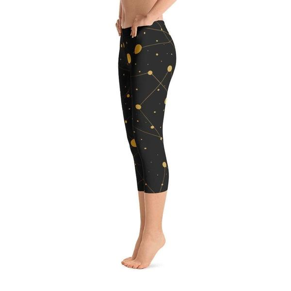Galaxy gold and black Capri Leggings-famenxt