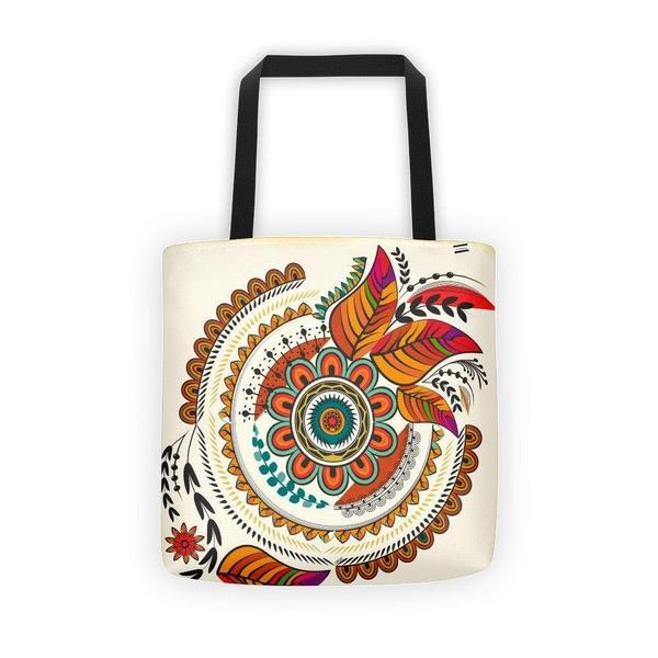 Flower and leaves mandala warm colors Tote bag-tote bags-famenxt