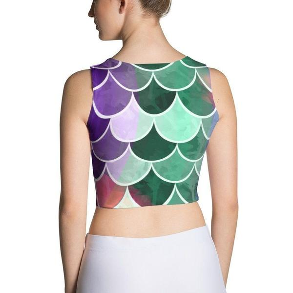 Mermaid colorful fish scale Sublimation Cut & Sew Crop Top-famenxt