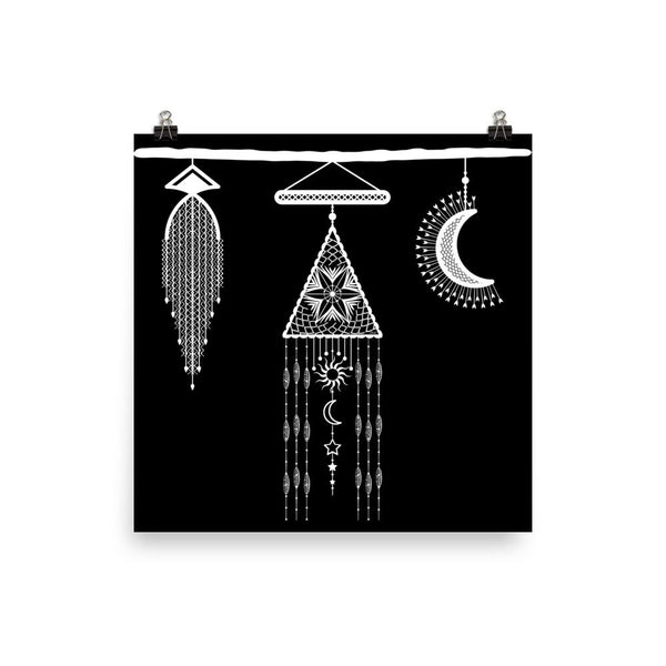 Bohemian Hanging Macrame and Moon from my15bohemianart Collection Poster-Posters-famenxt