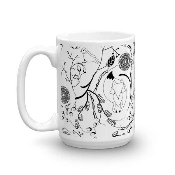 Cute fox and bird pattern Mug-Mug-famenxt