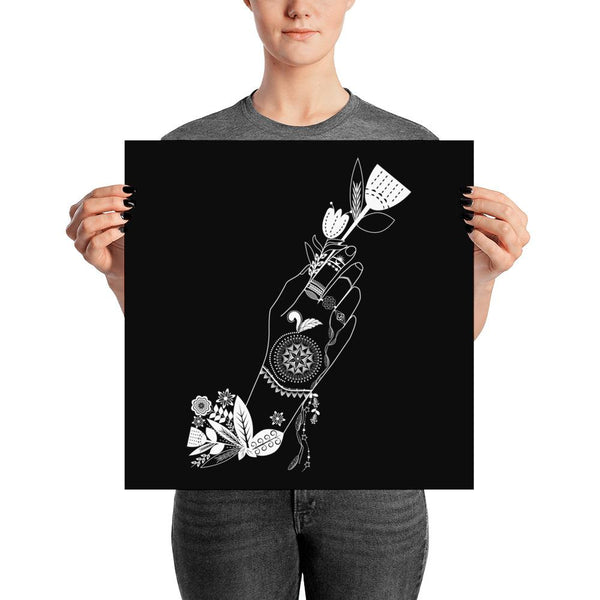 Bohemian Flower Girl from my15bohemianart Collection Black Poster-Posters-famenxt