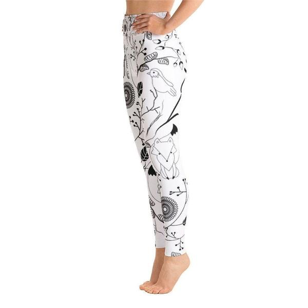 Happy fox and bird Yoga Leggings-famenxt