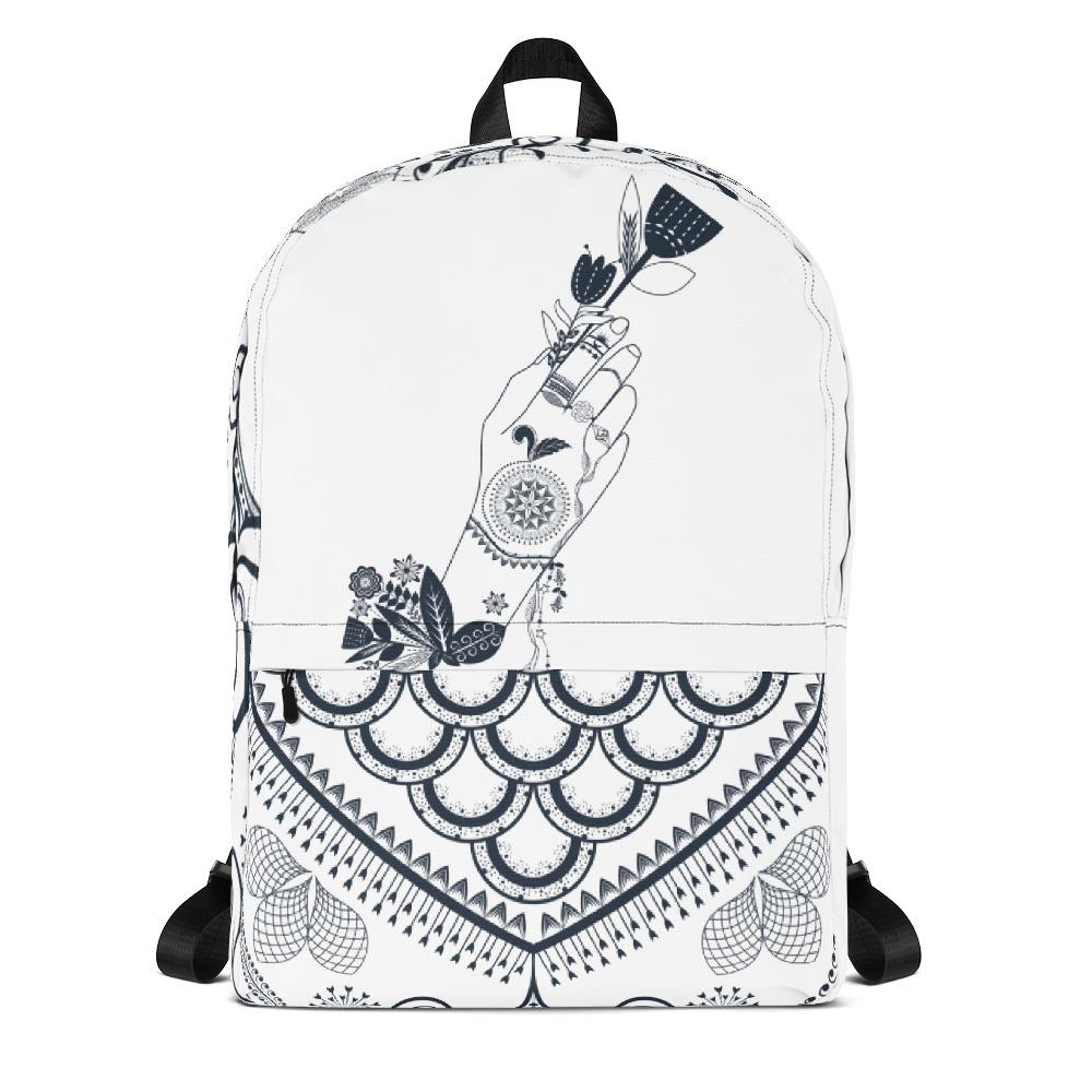 Bohemian Flower Girl from my15bohemianart Collection White Backpack-famenxt