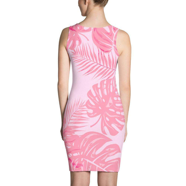 Flamingo Pink Tropical Jungle Dress-famenxt