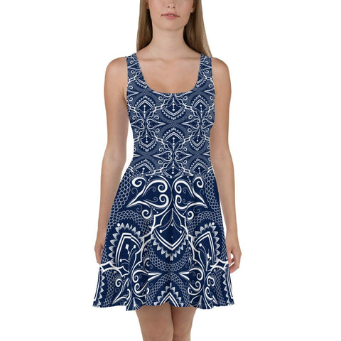 Moroccan Pattern Navy Skater Dress-famenxt