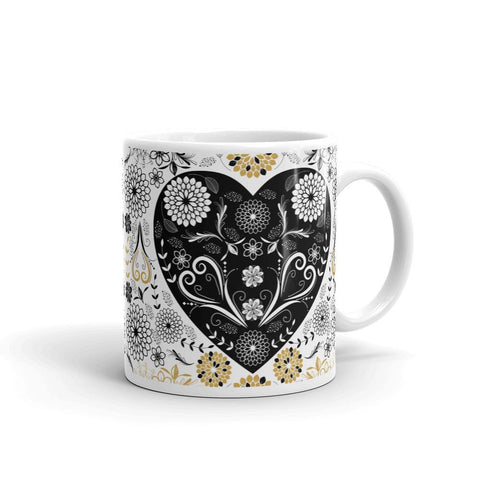 Gold Black Flowers and Hearts Deep Love Mug-famenxt