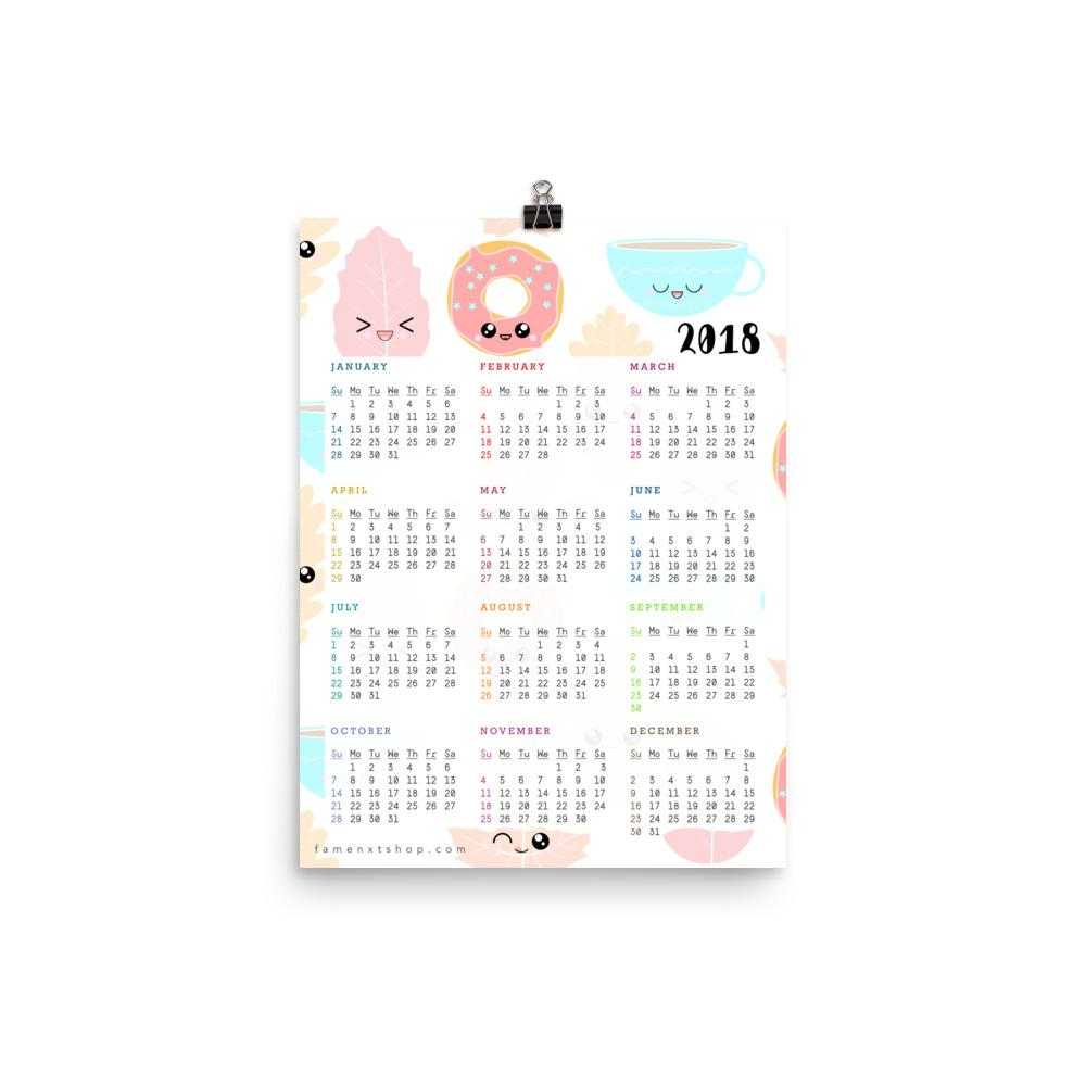 2019/ 2018 Sweet Kawaii Donut Tea Leaves Poster Calendar-Posters-famenxt