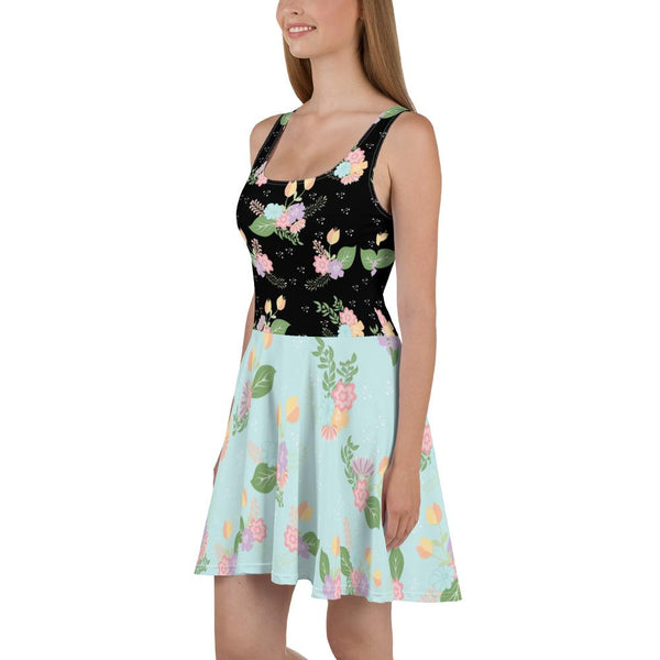 Floral Black Blue Skater Dress-famenxt