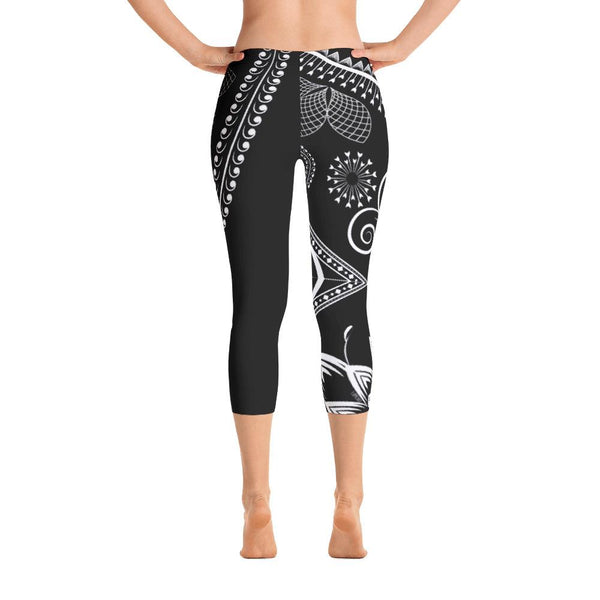 Boho Floral Ornate from my15bohemianart Collection Capri Leggings-famenxt