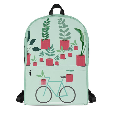 Plants and Bicycle Backpack From Save the Mother Earth Collection-famenxt
