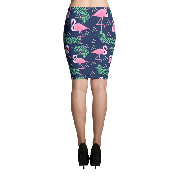 Tropical Flamingo Pencil Skirt-famenxt