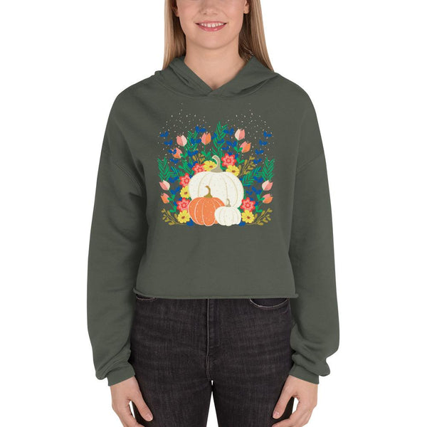 Pumpkins and Floral Crop Hoodie-famenxt