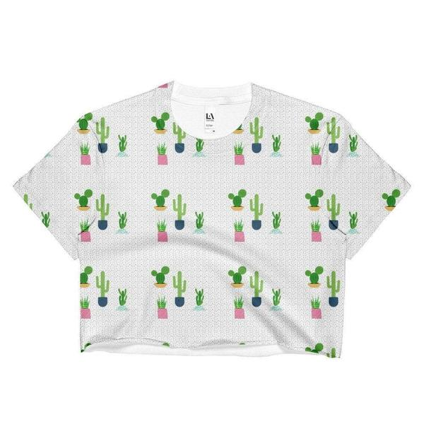 Cactus pattern Ladies Crop Top-famenxt