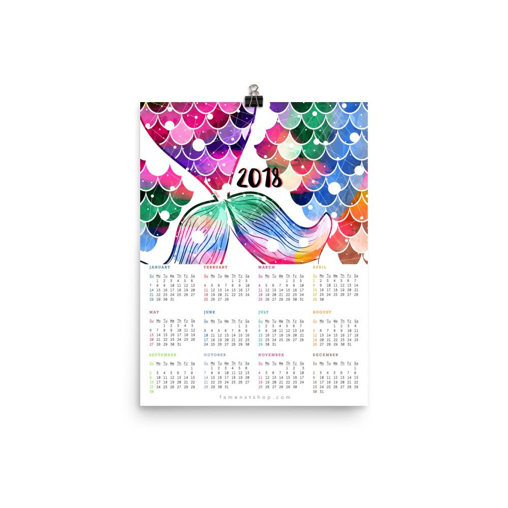 2019/ 2018 Mermaid Tail Colors Poster Calendar-Posters-famenxt