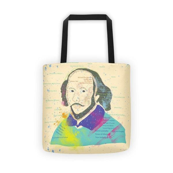 Shakespeare portrait with his work typography Tote bag-tote bags-famenxt