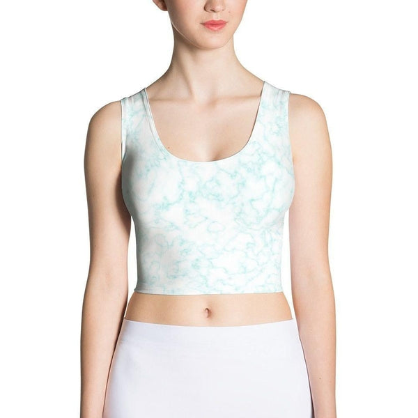 Blue Marble Sublimation Cut & Sew Crop Top-famenxt