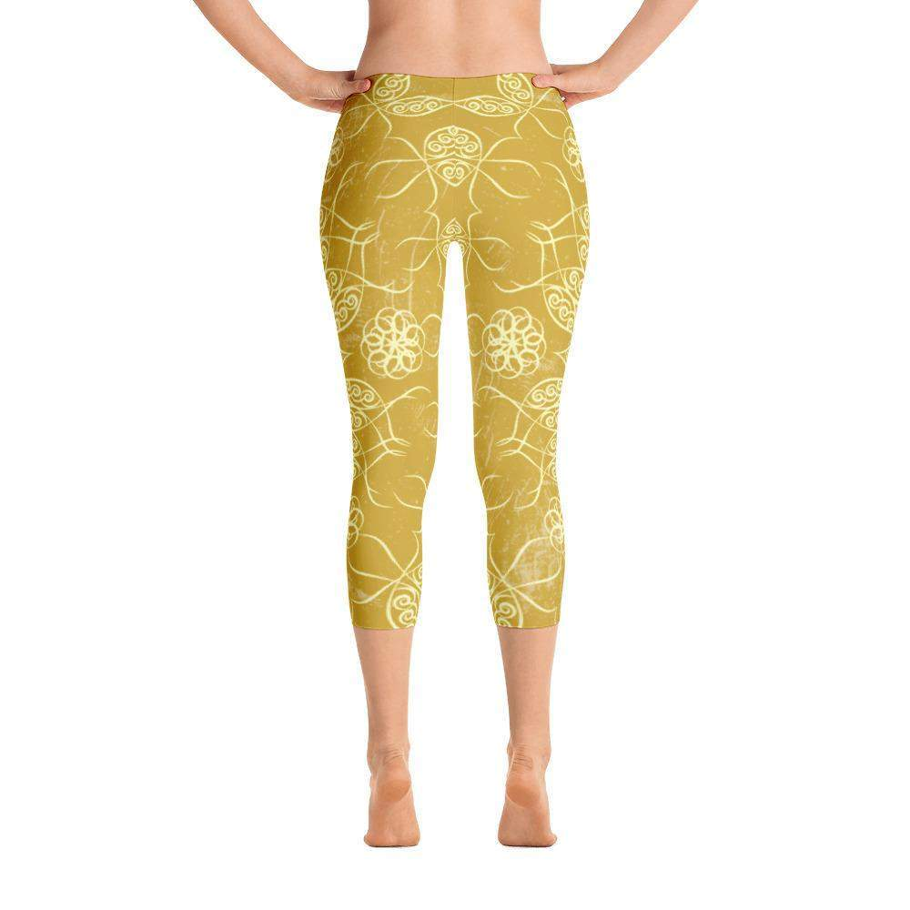 Golden Mandala Capri Leggings - famenxtshop