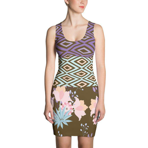 Abstract and Floral Pattern Dress-famenxt
