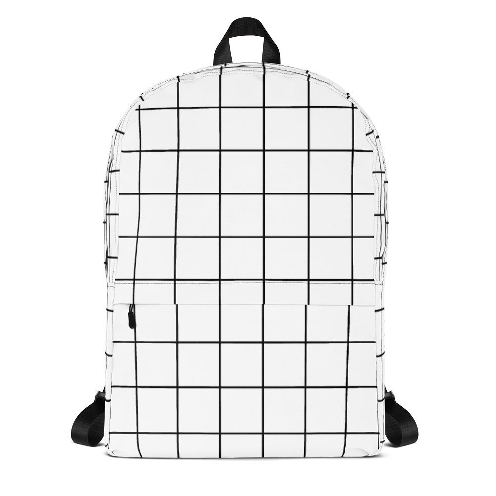 White Grid Backpack-famenxt