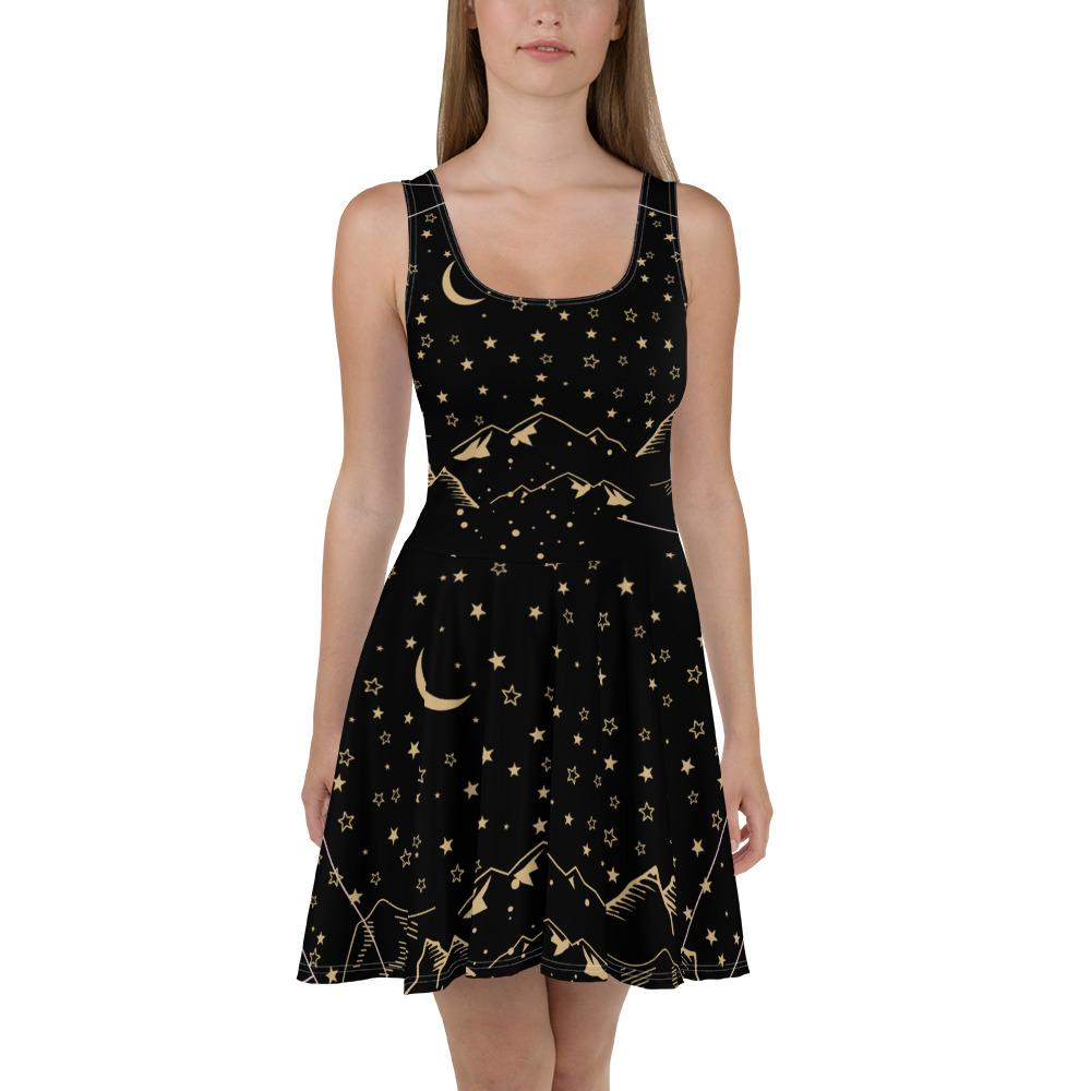 Stars Moon Mountains Skater Dress-famenxt