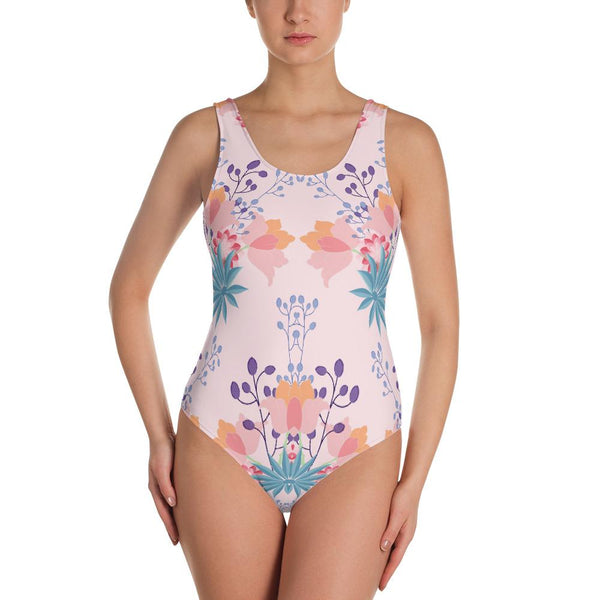 Shabby Chic Blush Pink Floral One-Piece Swimsuit-famenxt