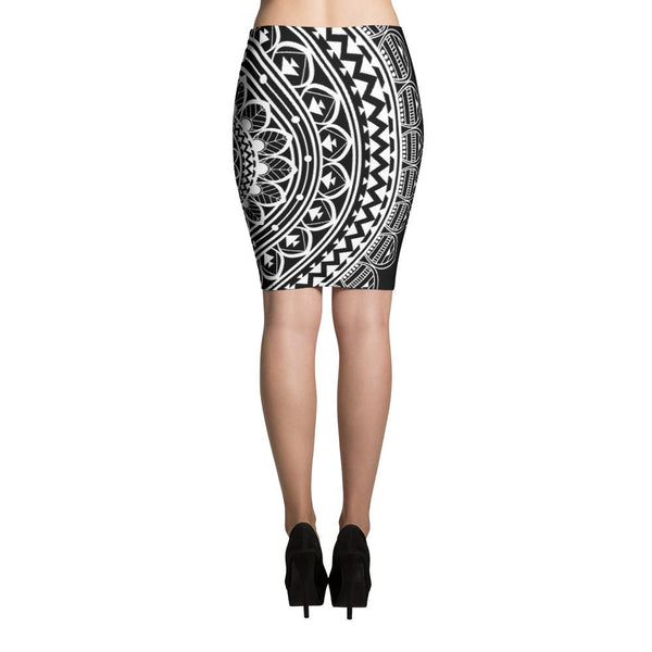 Mandala Black Pencil Skirt-famenxt