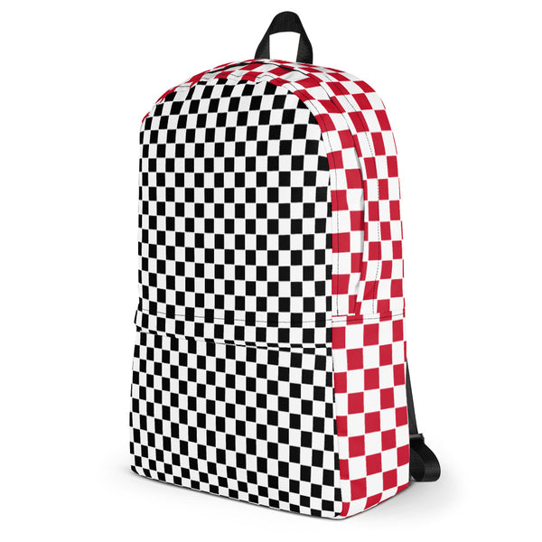 Black and Red Checkers Backpack-famenxt