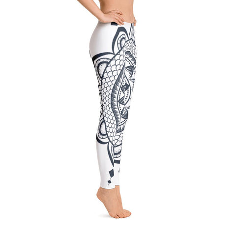 Mandala from my15bohemianart Collection White Leggings-famenxt