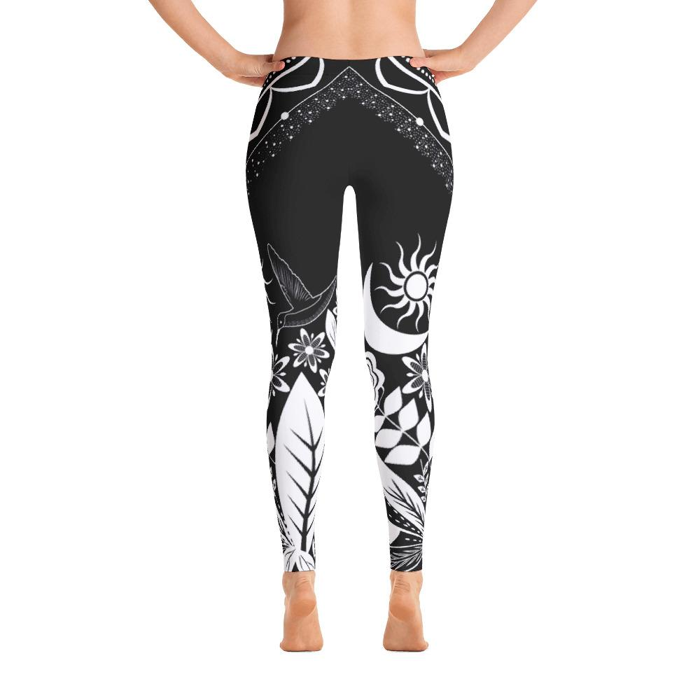 Half Mandala and Secret Garden from my15bohemianart Collection Black Leggings-Leggings-famenxt